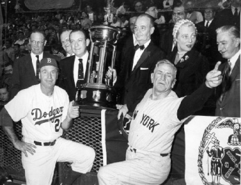 Mayor Robert Wagner with Casey Stengel and Walter Alston and the New York City Mayor's Trophy
