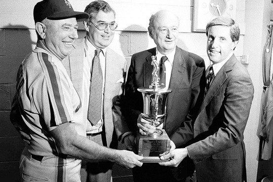 Mayor Ed Koch with George Bamberger, Nelson Doubleday, Fred Wilpon and the New York City Mayor's Trophy